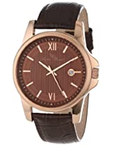 Lucien Piccard Men's 10048-RG-04 Breithorn Brown Textured Dial Brown Leather Watch