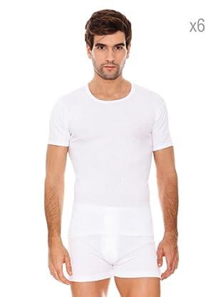 ABANDERADO Pack x 6 Camisetas Manga Corta Caballero Algodón (Blanco)