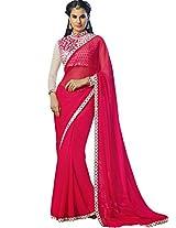Sapphire Fashions Women's Pink Chiffon Saree