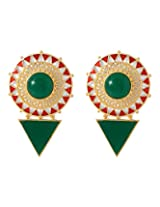 Voylla Fascinating Danglers Studded With Green Onyx