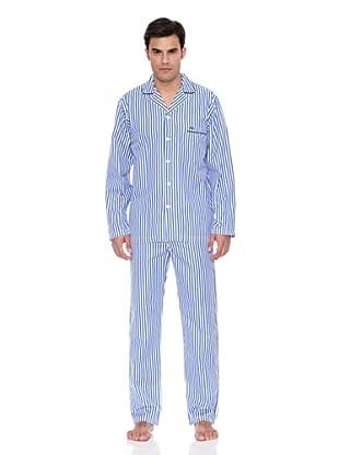Pedro del Hierro Pijama Largo Tela Rayas (Azul Marino)