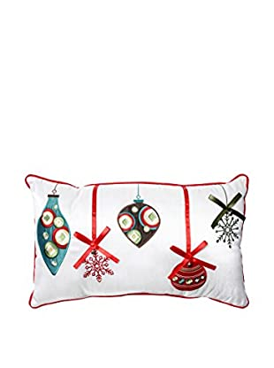 Pillow Perfect Holiday Ornaments Lumbar Pillow, Red/Green