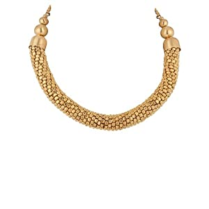 Voylla Bib Decorated with Dainty Golden Beads, Chain Necklace for Women