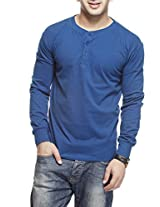 Gritstones Men's Button Front T-Shirt (GSFSHNLYING.1_Blue_Small)