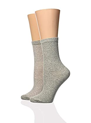 DIM 2tlg. Set Socken grau/schwarz one size