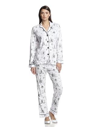 BH PJ's by BedHead Pajamas Women's Classic Notch Collar Pajama Set (Toile Ivory)