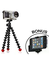 Joby GorillaPod Hybrid Flexible Tripod (Black/Red) for Compact System Cameras and for Action Cameras and a Bonus Universal Smartphone Tripod Mount Adapter works for iPhone 3g, 4, 4S, 5, HTC One, Galaxy S2, S3, S4, Blackberry Z10,Q10, Motorola Droid and Mo
