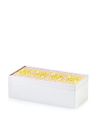 Handmade Wood & Paper Quilling Box, Yellow/Grey