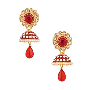 Voylla with Red Enamell Decorated Dome, Red Drop Jhumki Earring for Women