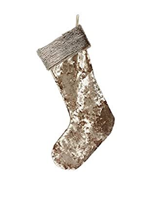 Aviva Stanoff Taupe Crushed Velvet Stocking with Faux Fur Trim
