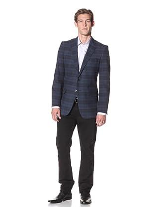 Joseph Abboud Men's Hudson Fit Blackwatch Plaid 2-Button Sportcoat (Blue)