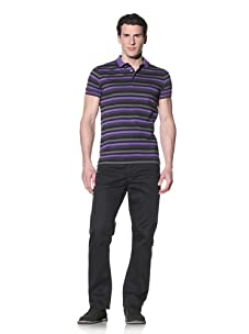 French Connection Men's Striped Polo (Violet)