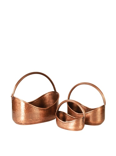 Wald Imports Set of 3 Handled Planters, Copper