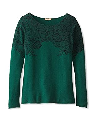 Kier & J Women's Lace Boatneck Sweater (Emerald/Black Lace)