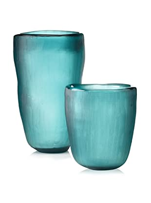 Jamie Young Set of 2 Etched Slump Vases, Aqua