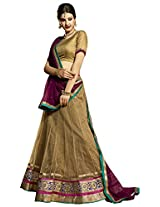Melluha Beige Net Embroidered Booti and Border work Lehenga with Chiffon Dupatta