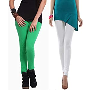 Shivanka Women's Cotton White & Green Leggings (Pack of 2) XX-Large