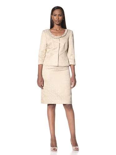 Tahari by A.S.L. Women's Embellished Jacket and Skirt (Champagne/Ivory)