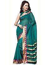 Eva Fashion Women's Poly Cotton Saree (PC-Shama19_Green)