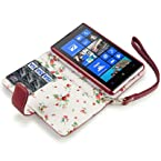 NOKIA LUMIA 820 PREMIUM PU LEATHER WALLET CASE WITH FLORAL INTERIOR - RED