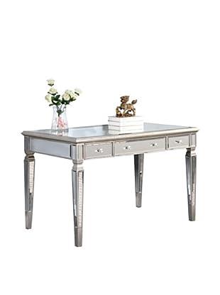 Florentine 3-Drawer Desk, Silver Leaf/Clear Mirror