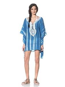 Tikka Women's Drawstring Tie Tunic With Embellishment (Blue/White)