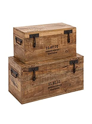 Set of 2 Wood And Metal Trunks