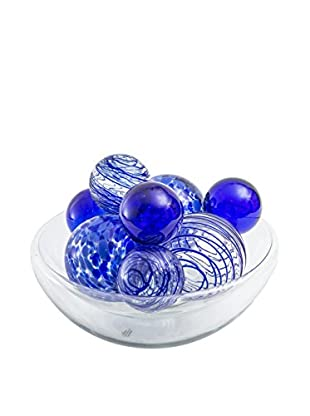Worldly Goods Glass Bowl With 9 Glass Spheres, Cobalt