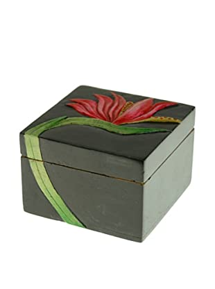 The Niger Bend Small Square Soapstone Box with Bird of Paradise Design
