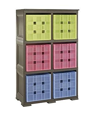 Tontarelli Estantería Con 6 Cubos Marrón