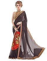 Inddus Women Black & Red Half & Half Georgette Printed Fashion Saree