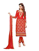 Suchi Fashion Red Embroidered Cotton Dress Material