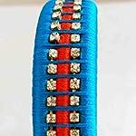 HANDMADE BANGLE SET WRAPPED WITH BLUE AND ORANGE SILK THREAD & WHITE IMITATION STONES