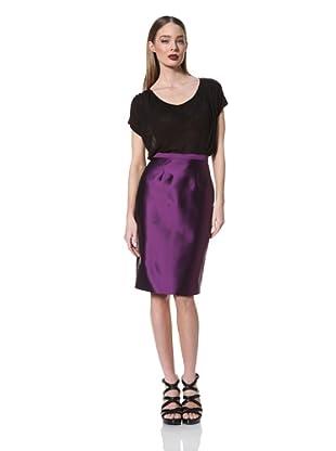 Prabal Gurung Women's Flat Front Pencil Skirt (Purple Floral)