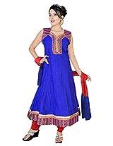 Divinee Blue Chanderi Cotton Anarkali Suit