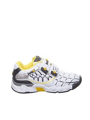 Footgol Sneakers Doppelklett (weiss/grau/gelb)