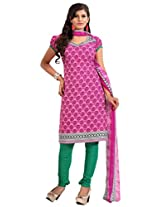 Inddus Women Pink & Green Colored Printed Dress Material