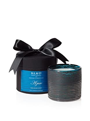 D.L. & Co. Rayure Collection Hand-Blown Thin-Stripe Candle, Azure, 10-Oz.