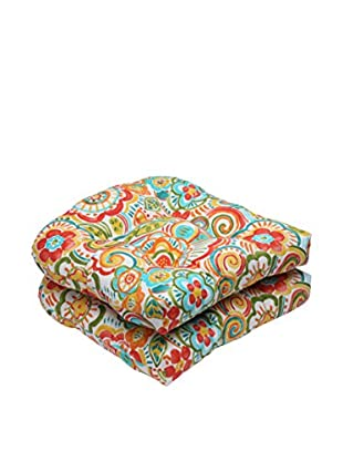 Pillow Perfect Set of 2 Indoor/Outdoor Bronwood Carnival Wicker Seat Cushions, Multi