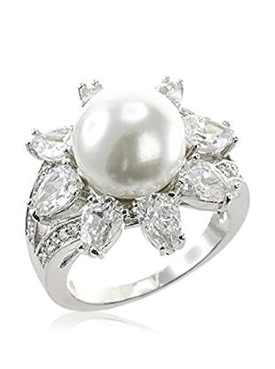 CZ by Kenneth Jay Lane Pear CZ Pearl Ring