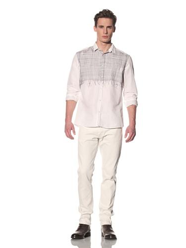 gene par YUKIO MISHIBA Men's Button-Up Shirt with Thread Detail (Off-White)