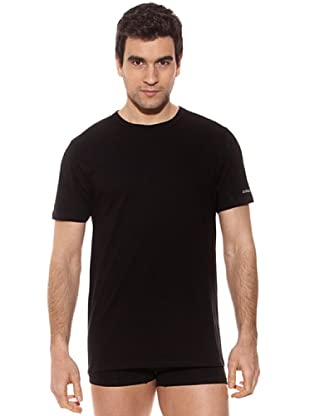 Kappa Camiseta mc Caballero Cuello Redondo 100% Algodón (Negro)