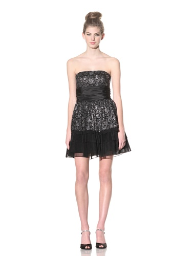 Betsey Johnson Women's Twinklebell Strapless Dress (Silver)