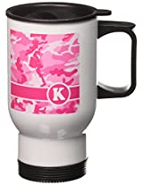 3dRose Cute Pink Camo Camouflage Letter K Travel Mug, 14-Ounce