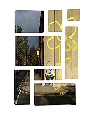 Banksy Yellow Lines Flower Painter 8-Piece Giclée On Canvas