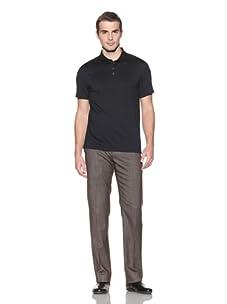 John Varvatos Collection Men's Polo with Shoulder Seam Detail (Black)