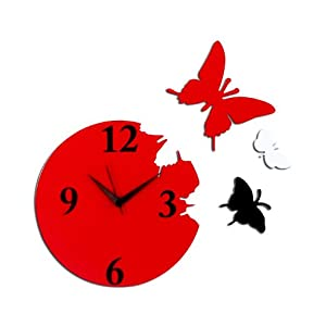Panache Red Butterfly Wall Clock