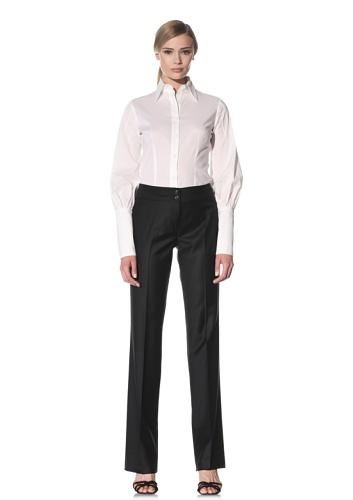 Luciano Barbera Women's Straight Leg Wool Pant (Black)