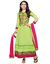 atisundar exquisite Parrot Green Traditional Semi-stitched Party Wear Anarkalis- 5817_25_36002