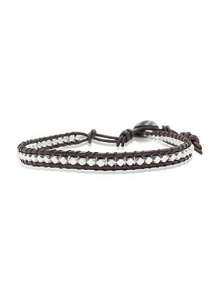 Lucie & Jade Echtleder-Armband Metallbeads braun/silber